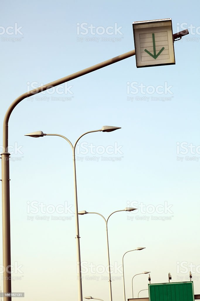 Road Signs and Street Lights royalty-free stock photo