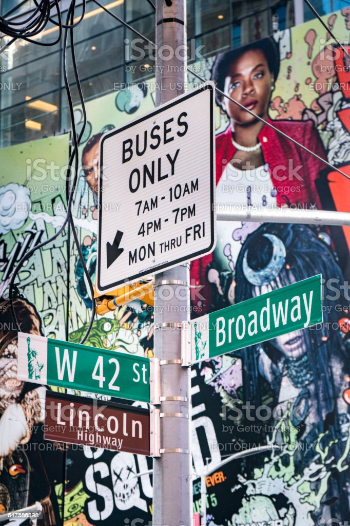 Road Signs At 42nd Street And Broadway stock photo