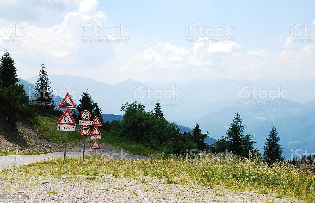 Road Signs at Top of Mountain stock photo