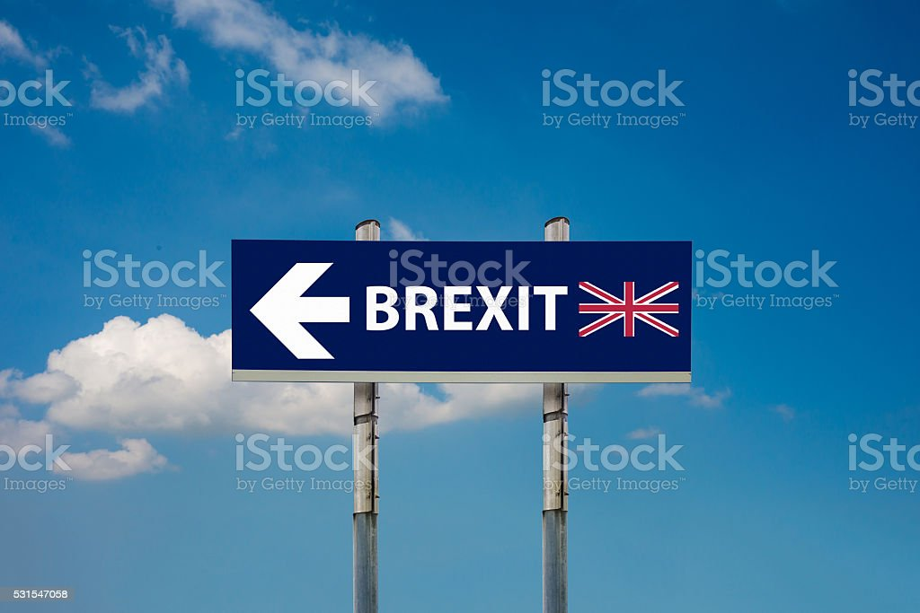 road signs EU and BREXIT stock photo