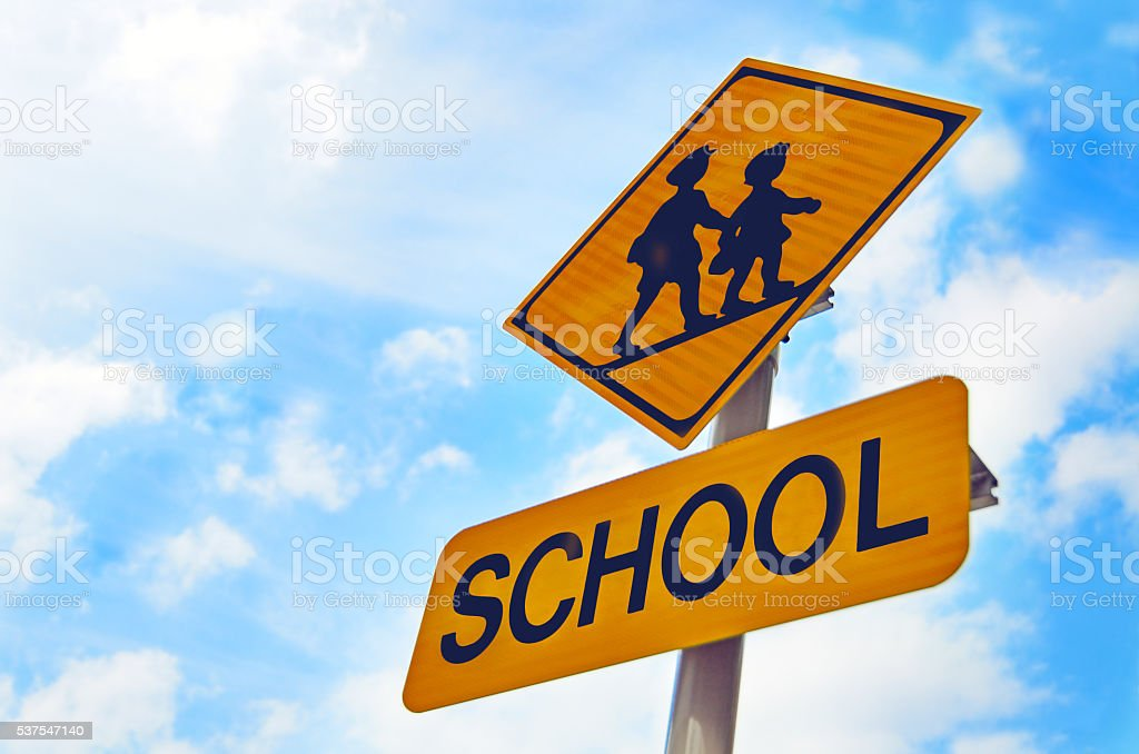 Road signs in Japan : Warning signs, Children crossing stock photo
