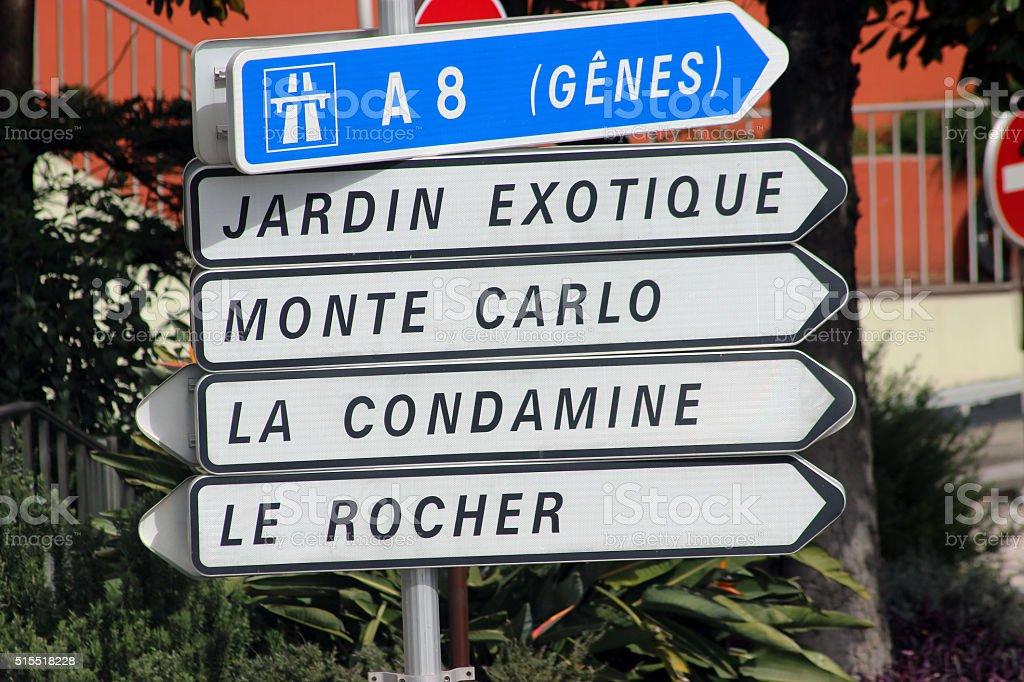 Road Signs in Monaco stock photo