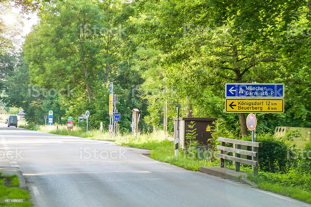 Road signs in the direction of Munich alongside a road stock photo