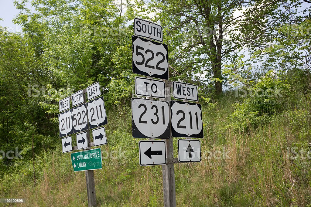 Road signs in Virginia. stock photo