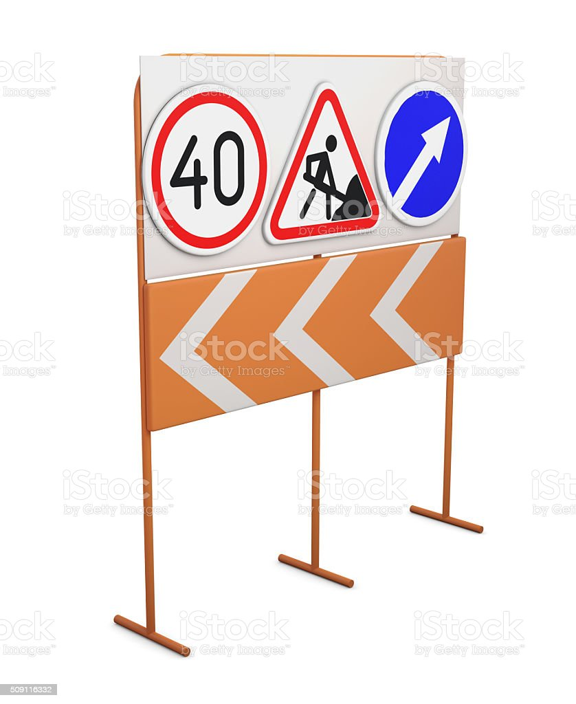 Road signs on a rack isolated on white background. stock photo