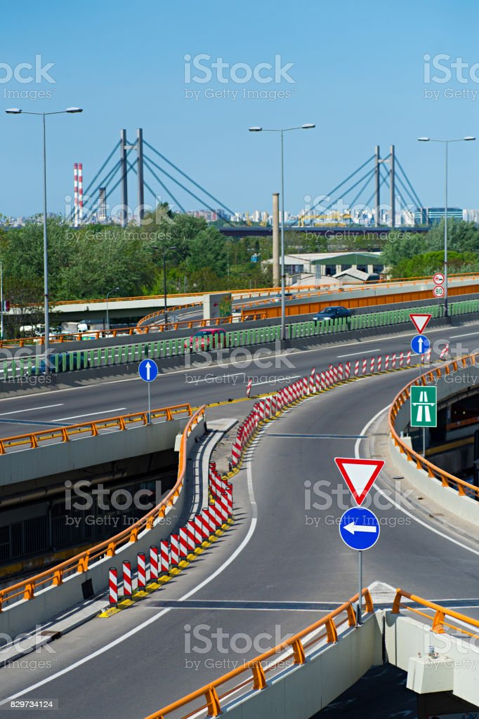 Road signs on interchange on the highway stock photo