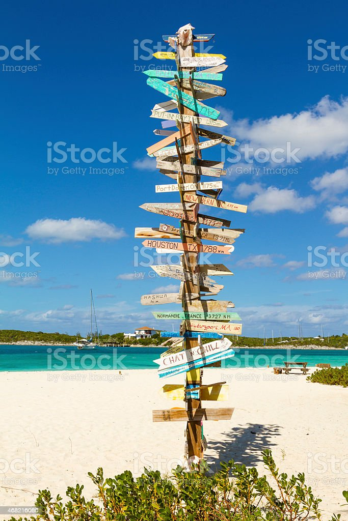 Road signs on the tropical beach stock photo