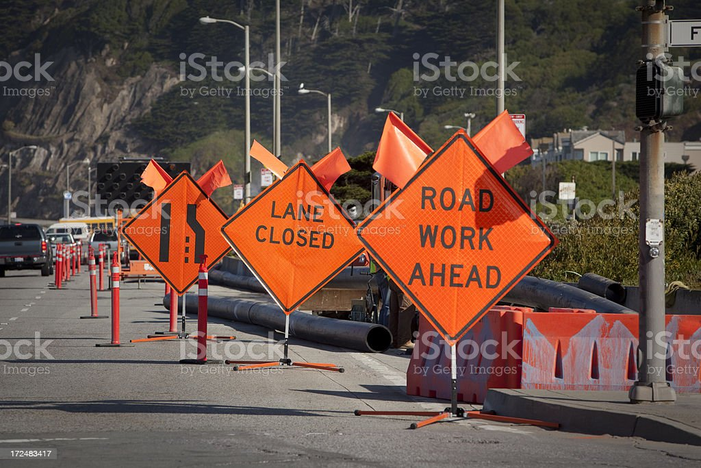 Road signs redirecting traffic. stock photo