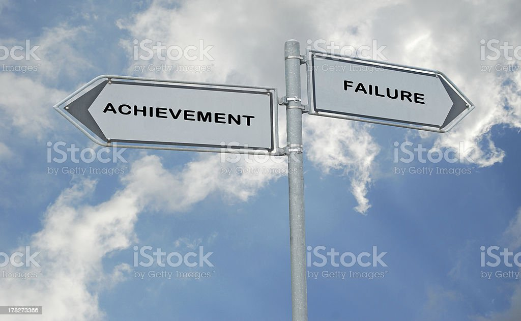 Road signs to achievement and failure royalty-free stock photo