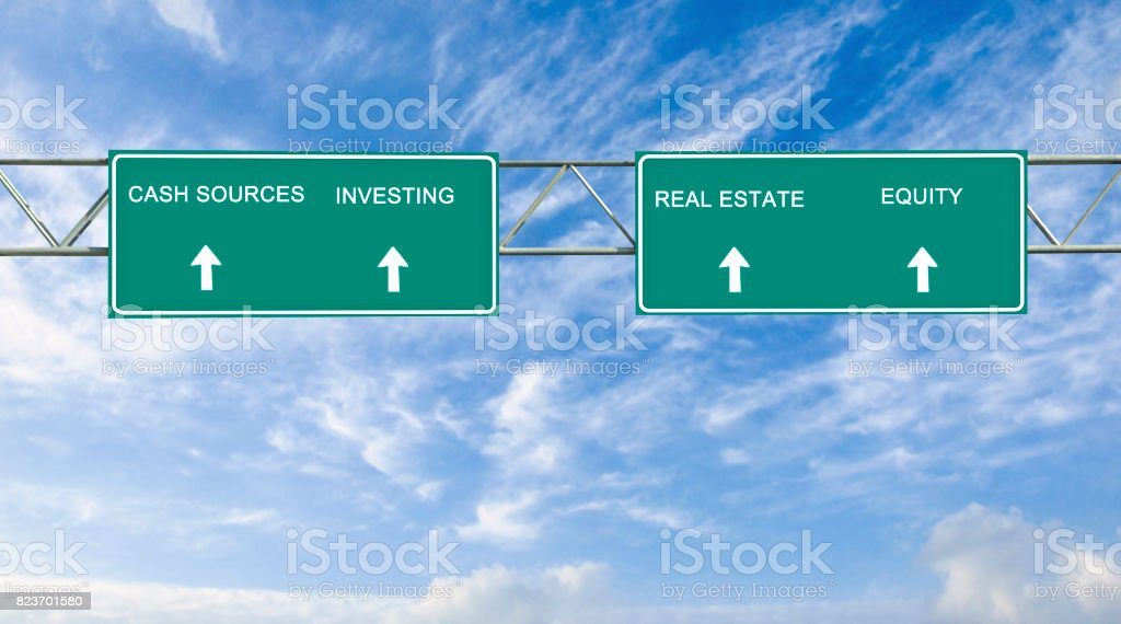 Road signs to cash sources, investing, real rstate, equity stock photo