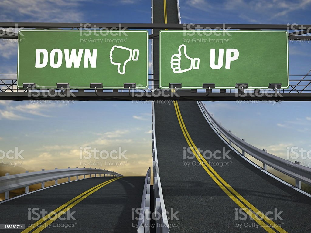 Road signs with up and down texts royalty-free stock photo