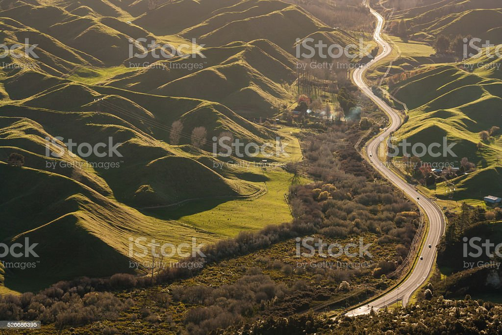road snaking amongst volcanic hills in Rotorua stock photo