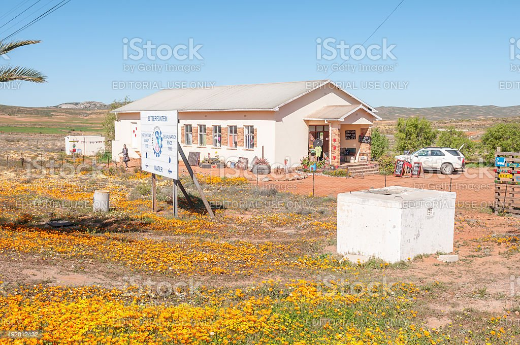 Road stall and information center in Bitterfontein stock photo
