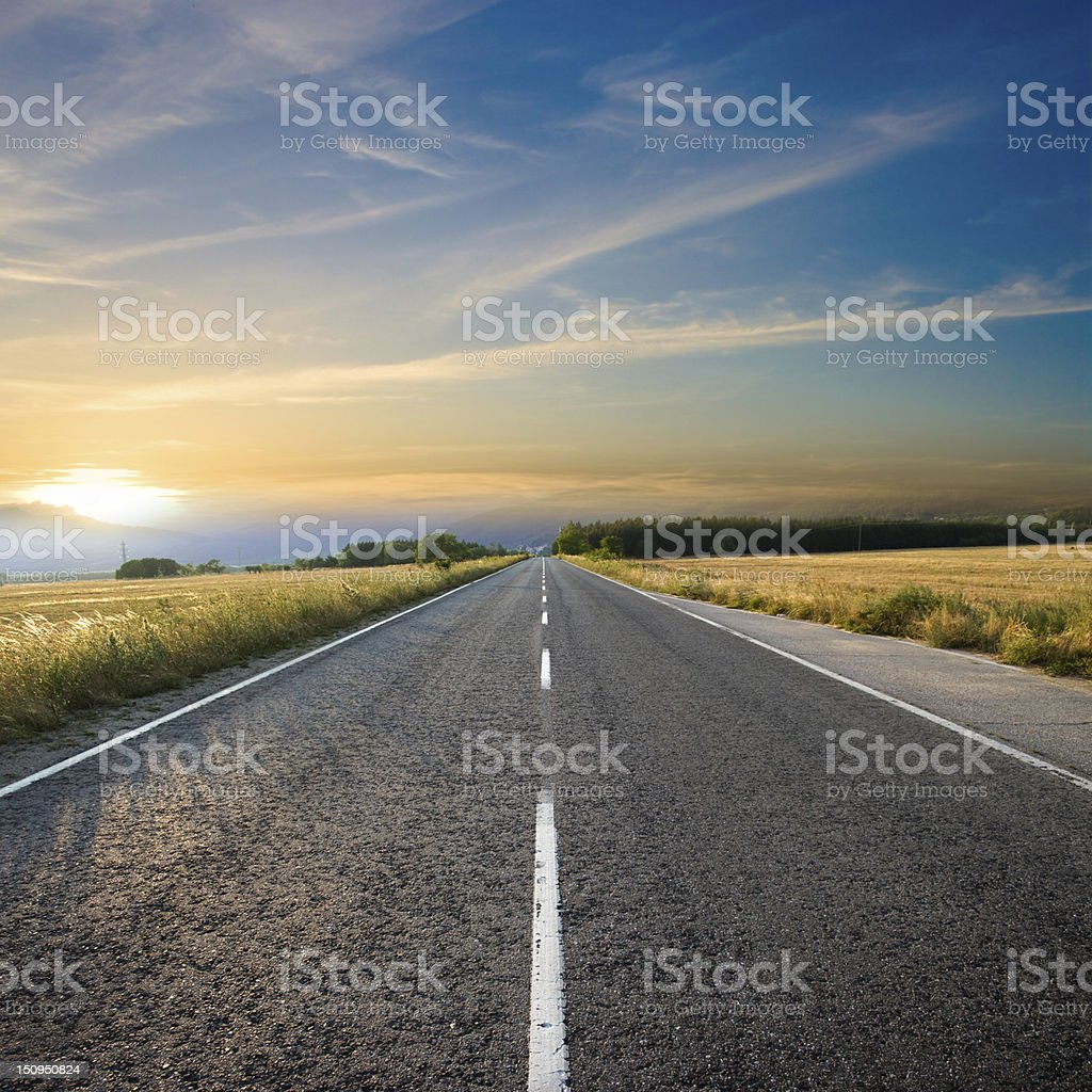 Road Sunset stock photo