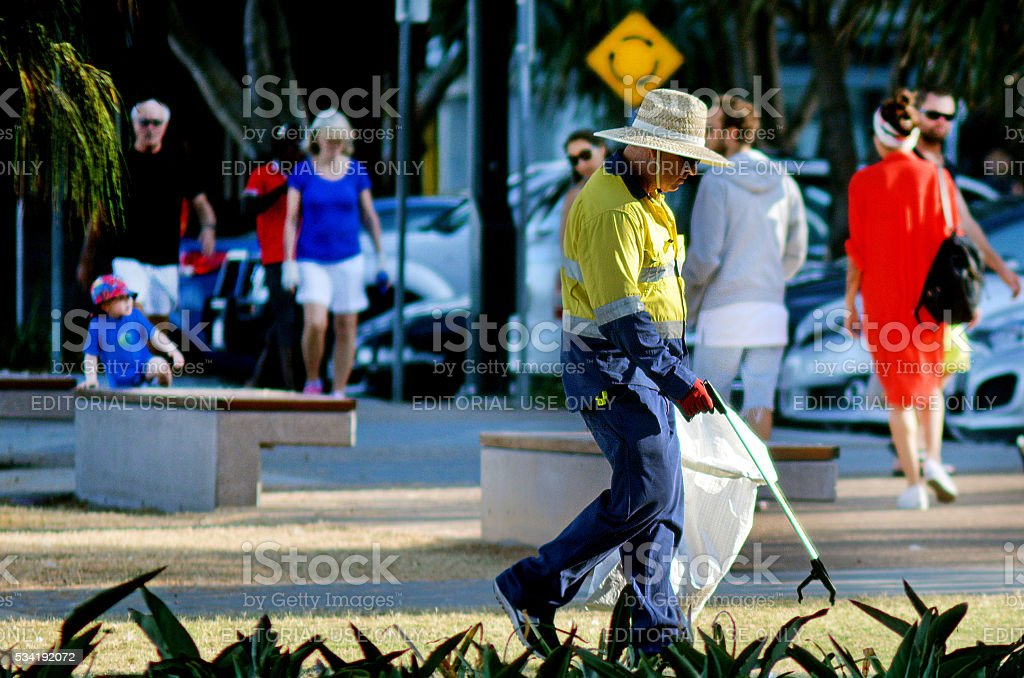 Road Sweeper Janitor cleaning street stock photo