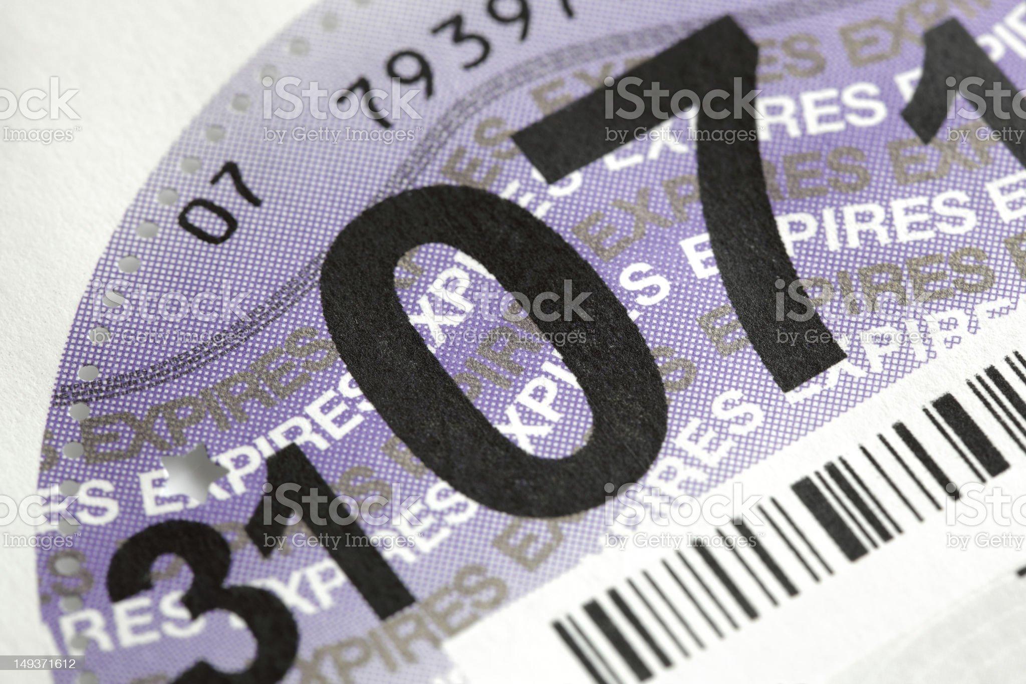 UK road tax disc royalty-free stock photo