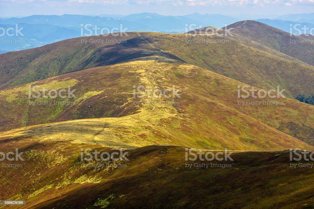 road through a mountain range stock photo