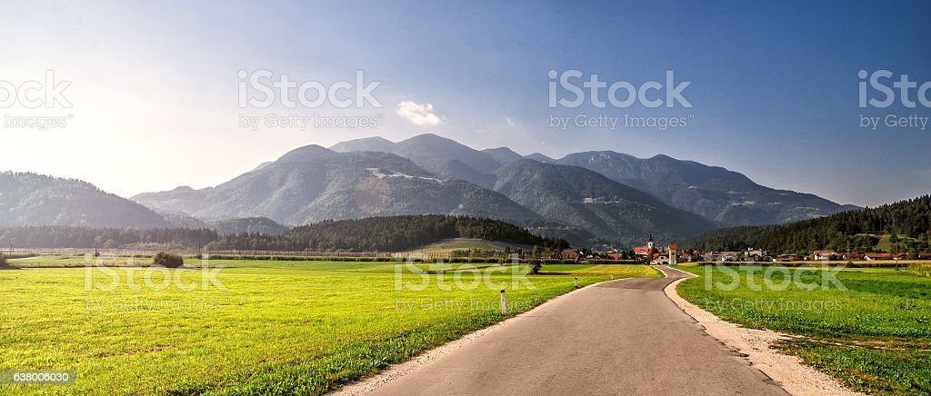 road through Alps. stock photo