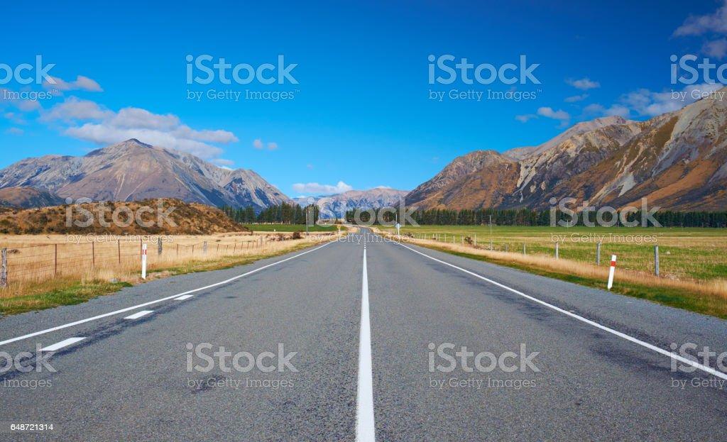 Road Through Arthur's Pass In New Zealand stock photo