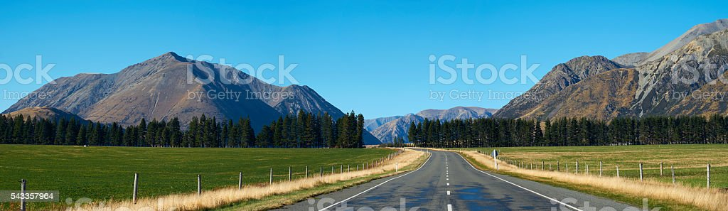 Road Through Arthur's Pass, New Zealand stock photo