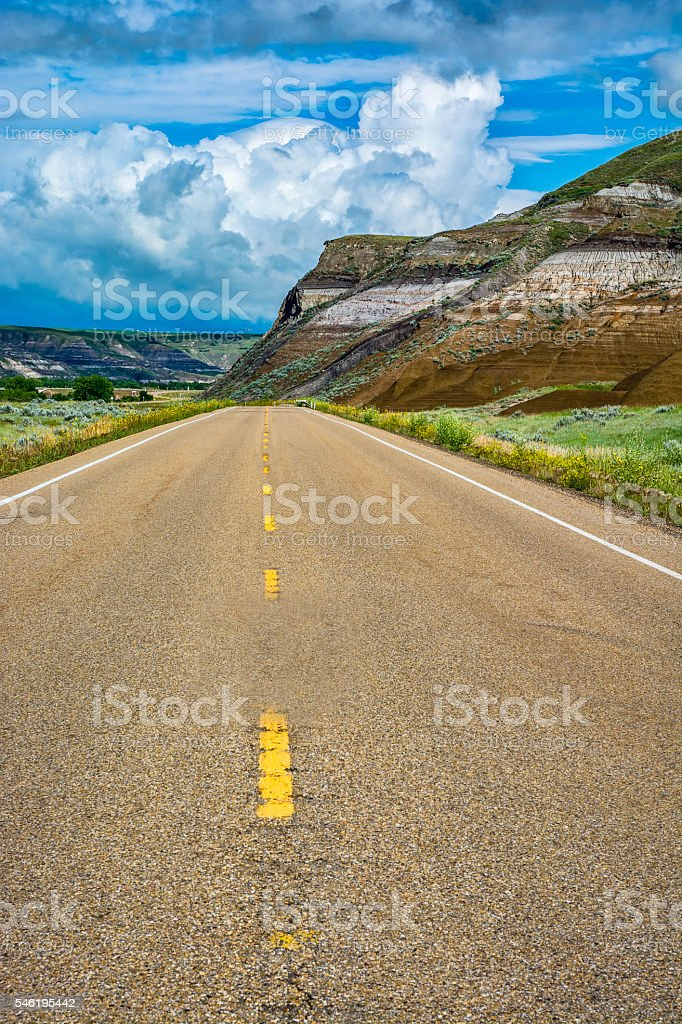 Road Through Badlands stock photo