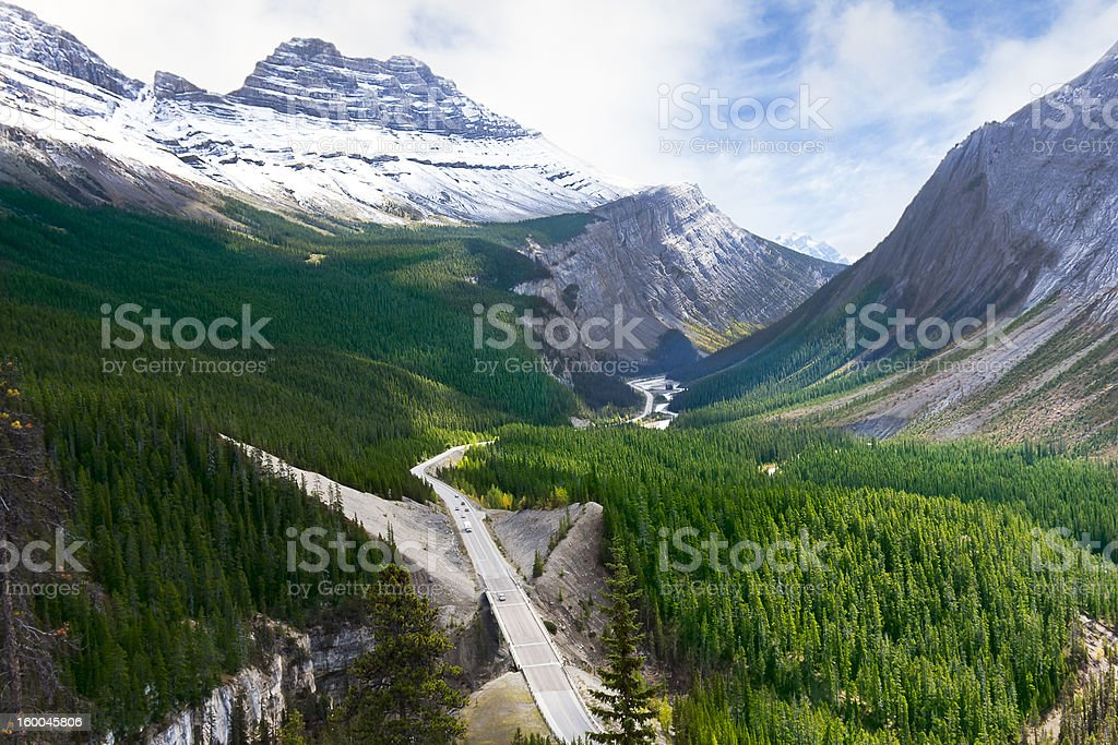 Road Through Canadian Rocky Mountains - Icefields Parkway stock photo
