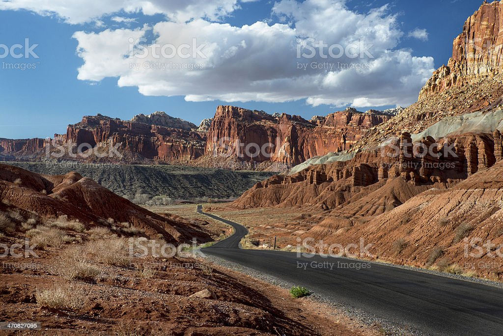 Road Through Capitol Reef National Park stock photo