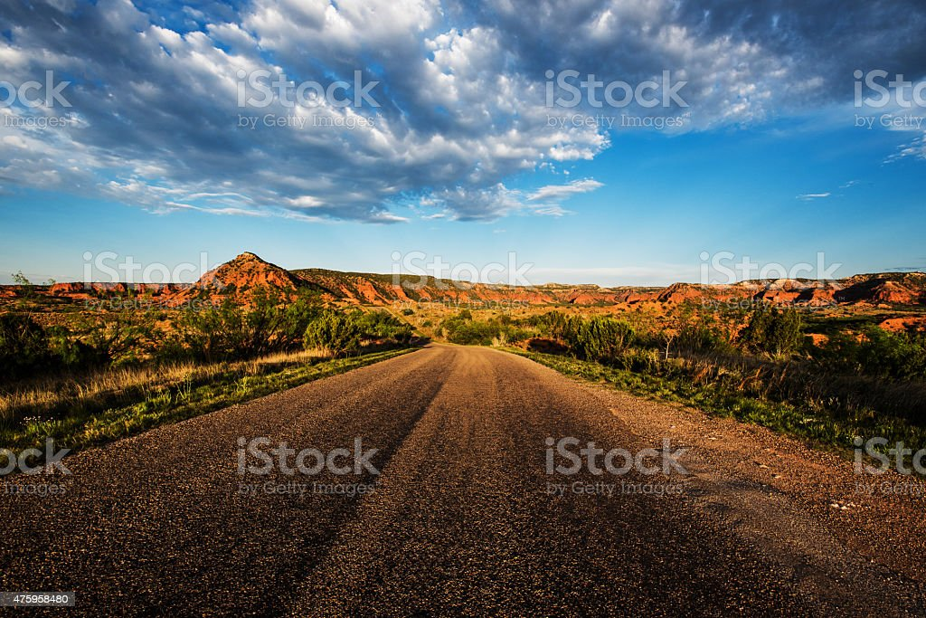Road through Caprock Canyon State Park stock photo