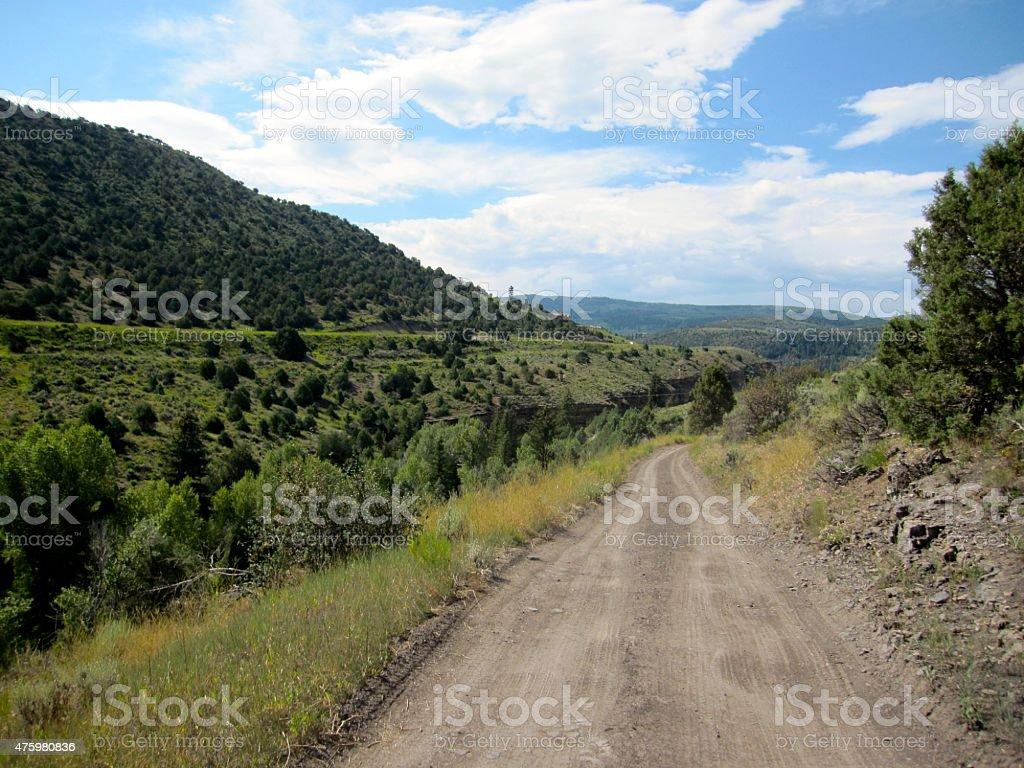 Road through Colorado Hills stock photo