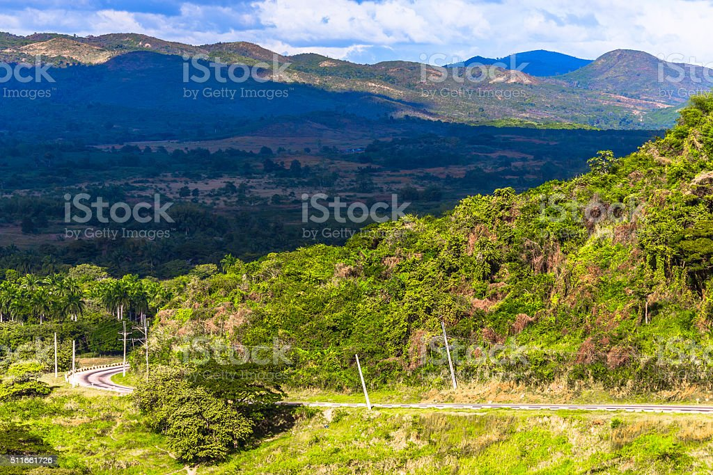 Road through Cuban Mountains stock photo