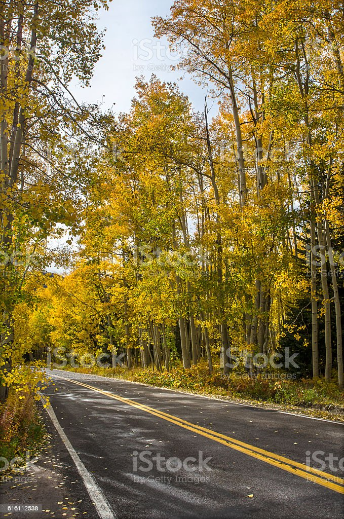 Road Through Independence Pass in the Colorado Rocky Mountains stock photo