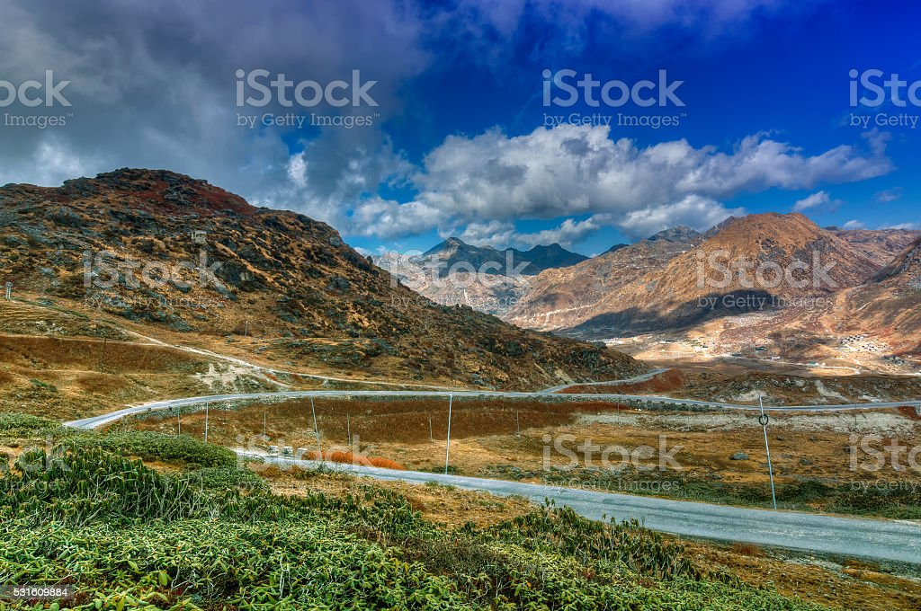 Road through Jelepla Pass, Dzuluk, Sikkim stock photo