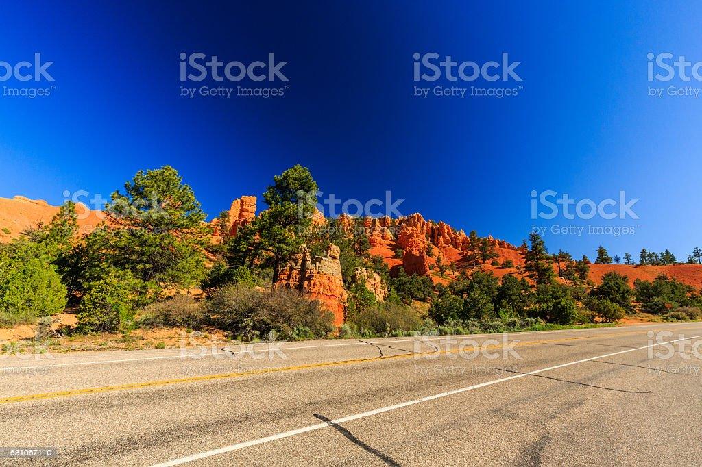 Road through Red Canyon in Utah, USA. stock photo