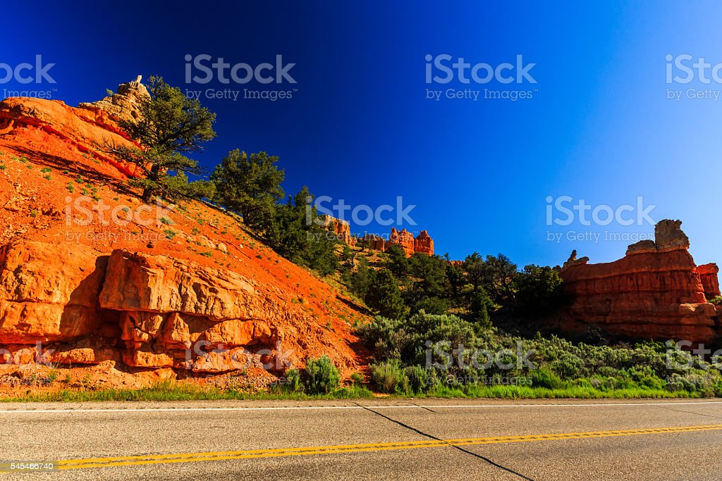 Road through Red Canyon in Utah, USA. stock photo
