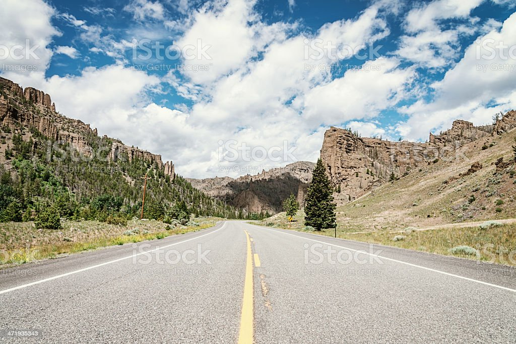 Road Through Shoshone National Forest Wyoming stock photo