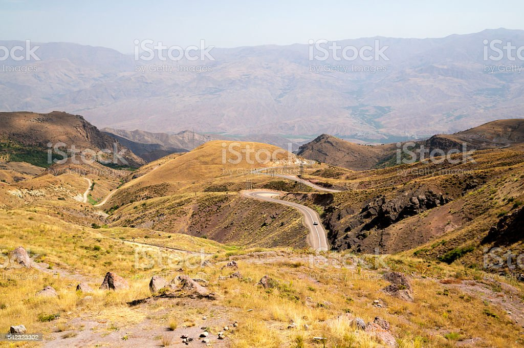 Road through the Alamut mountains in Iran stock photo
