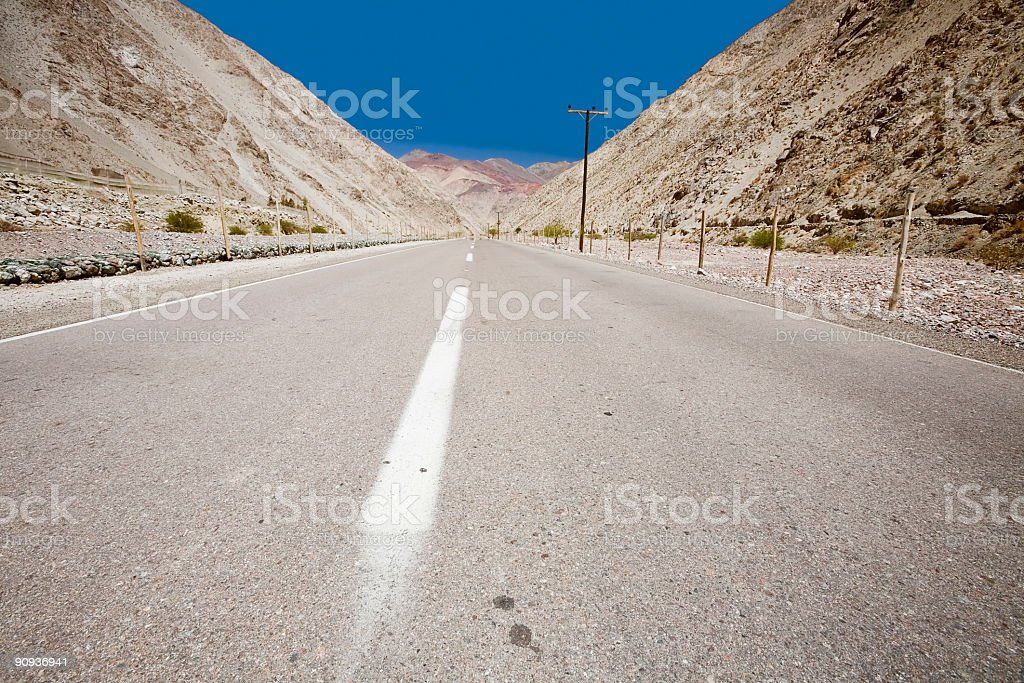 Road through the Andes, Chile stock photo