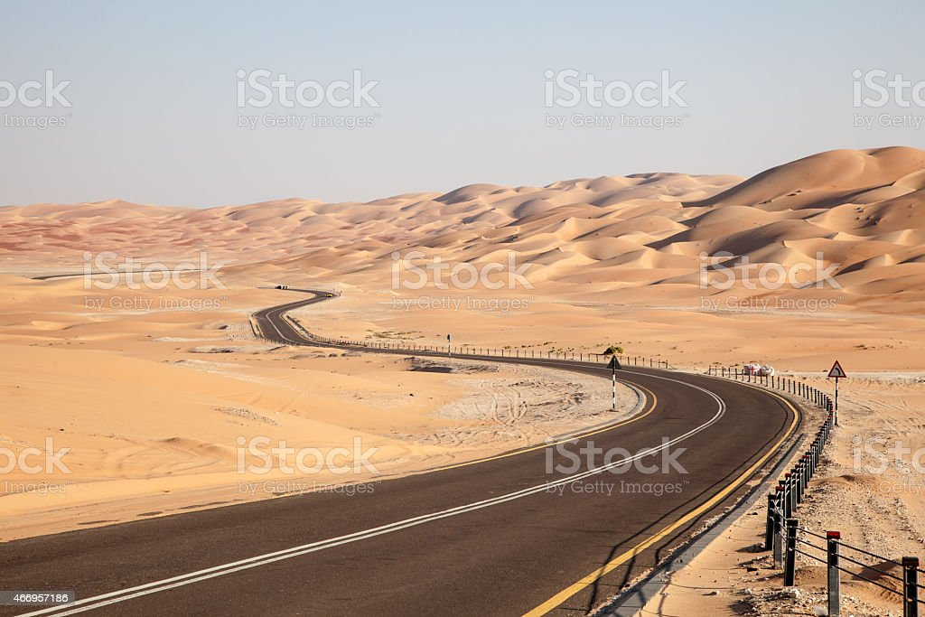 Road through the desert stock photo