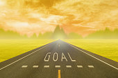 road through the field with sign goal