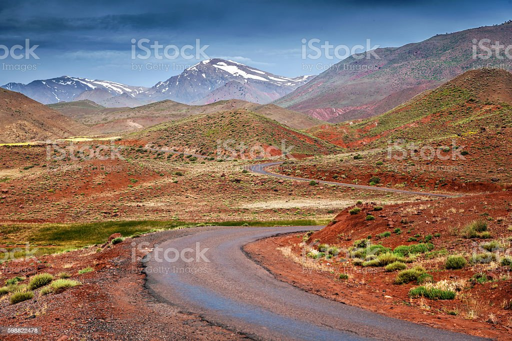 Road through the High Atlas Morocco, North Africa stock photo