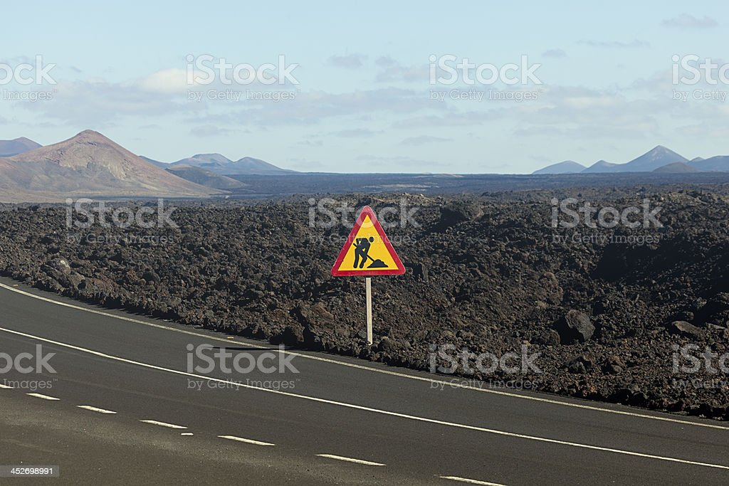 road through the lava fields royalty-free stock photo