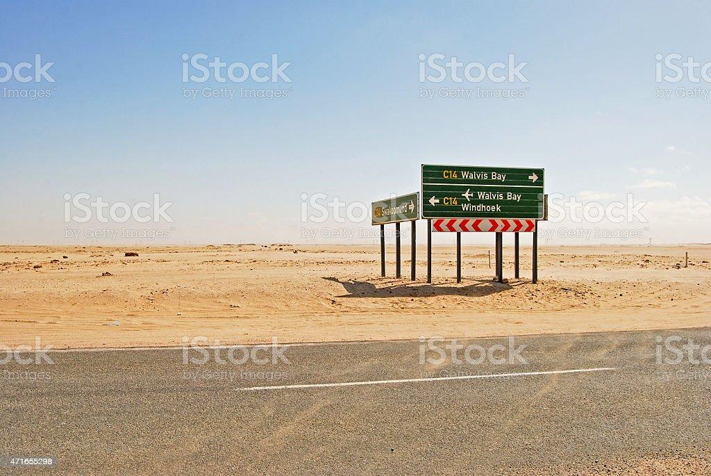 Road through the Namib Desert to Windhoek, Namibia Africa stock photo