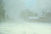 Road Through Town in Blizzard