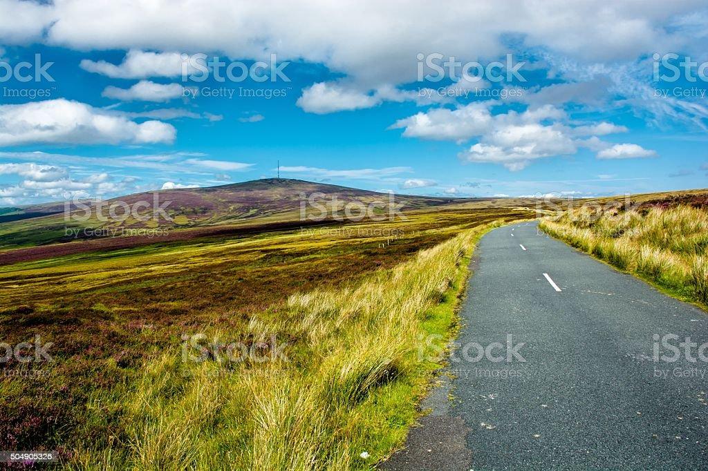 Road through Wicklow Mountains near Dublin in Ireland stock photo