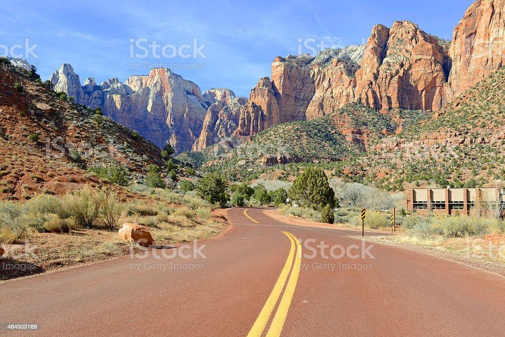 Road through Zion National Park, Utah stock photo