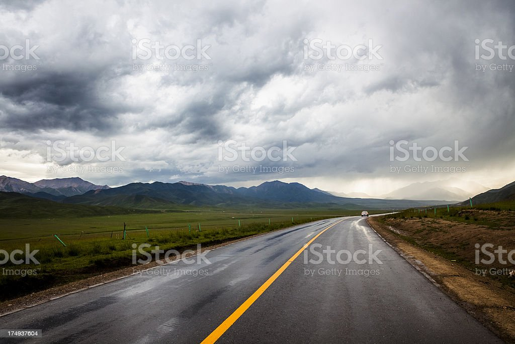 road thunderstorm royalty-free stock photo