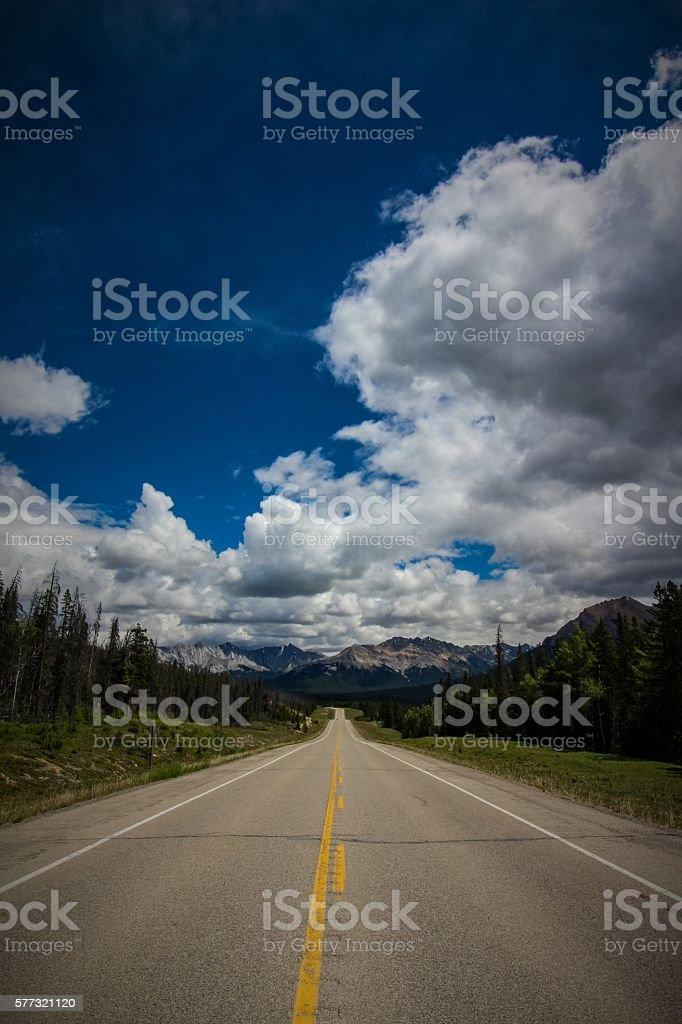 Road to Abraham Lake stock photo