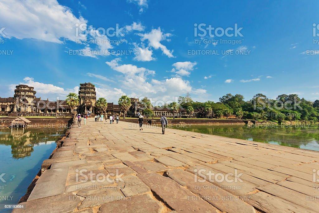 Road to Angkor Wat temple stock photo
