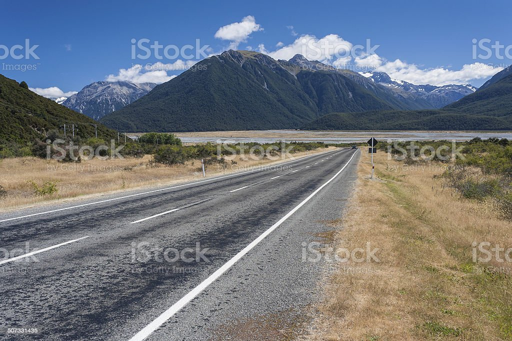 road to Arthur's Pass in New Zealand stock photo