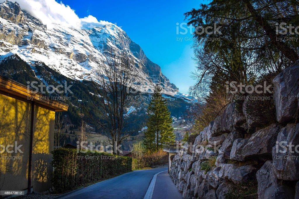 road to base mountain stock photo